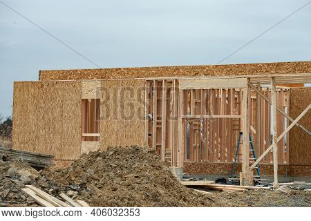 Construction Of The First Floor Of A Plywood House Plywood Slab New Window