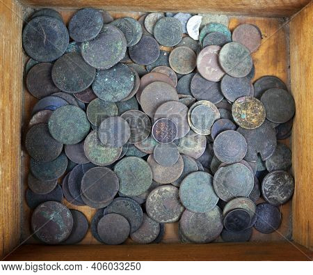 Antique European Money On A Junk Dealer's Tray, In A Wooden Box. Previously, It Was Wealth, But Now