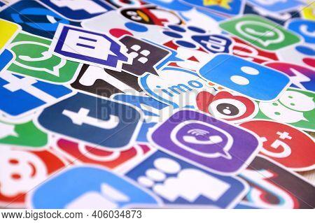 Kharkov, Ukraine - December 26, 2020: Paper Logos Of Most Popular Social Networks And Mobile Messeng