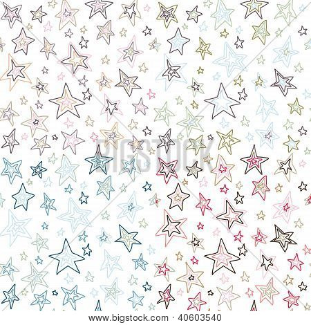 seamless retro stars vector pattern