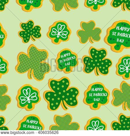 St Patrick's Day Cookies Set. Seamless Pattern. Shamrock St. Patricks Day Sugar Cookies. Collection
