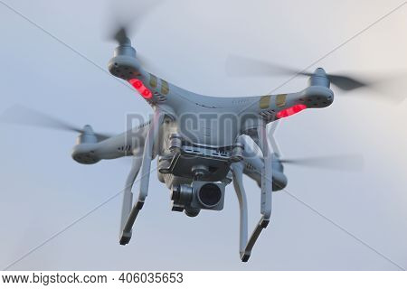Great Malvern, United Kingdom, 27th December, 2020: Full Frame Close Up Front View Of A Hovering Qua