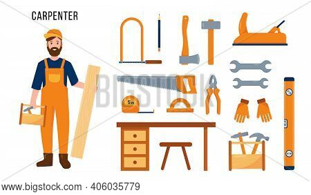 Carpenter Character And Set Of Carpenters Tools And Equipment For His Work. Profession People Concep