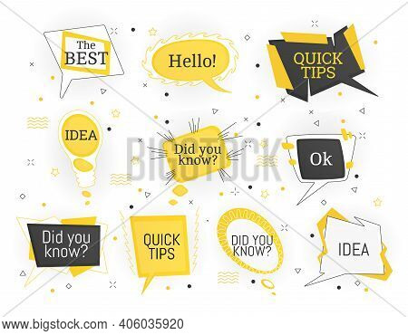 Interesting Facts Bubble Symbols. Banner Or Sicker With Phrases Or Words. Social Media Faq Banner Wi
