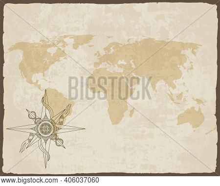 Retro Nautical Compass On Old Paper Texture World Map With Torn Border Frame. Hand Drawn Antique Nau