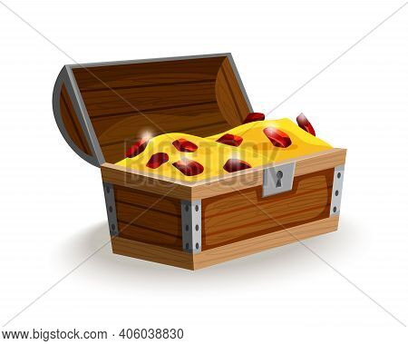 Treasure Chest Isometric Cartoon. Wooden Open Box Full Of Gold Coins And Jewels. Precious Treasures,