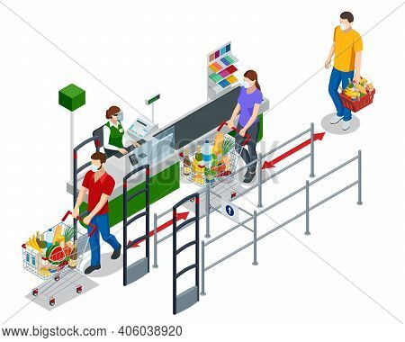 Isometric Series Of Cash Registers, Cash Desk, In A Large Supermarket. People With Shopping Carts An