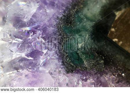 Macro Photo Of Amethyst Stone, Magenta And Green Layers, Semi Precious Minerals, Natural Texture And