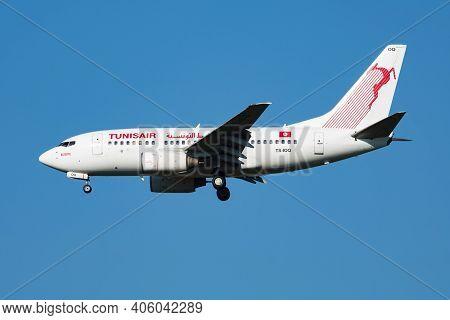Vienna, Austria - July 7, 2018: Tunisair Boeing 737-600 Ts-ioq Passenger Plane Arrival And Landing A