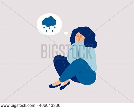 Lonely Young Girl Sitting On Floor And Cover Her Face With Arms. Sad Child Is Crying.  Female Charac