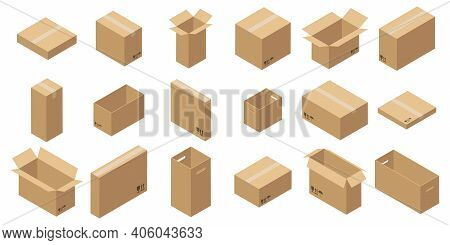 Set Of Isometric Carton Packaging Boxes. Closed And Open Cardboard Box. Isolated On White Background