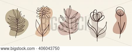 Branches Of Palm Trees And Flowers. A Set Of Flowers And Colored Spots In Pastel Colors. Drawn Plant