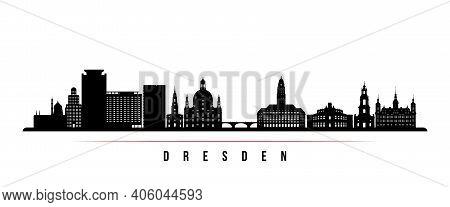 Dresden Skyline Horizontal Banner. Black And White Silhouette Of Dresden, Germany. Vector Template F
