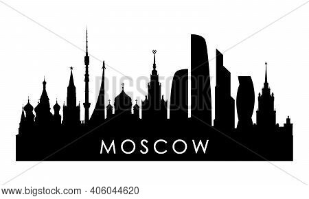 Moscow Skyline Silhouette. Black Moscow City Design Isolated On White Background.