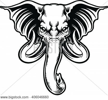 Angry Elephant Head Mascot Silhouette Illustrations For Your Work Logo, Mascot Merchandise T-shirt,