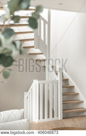 Designed In A Minimalistic Style Staircase. Interior Shot Of Luxury House Stairs