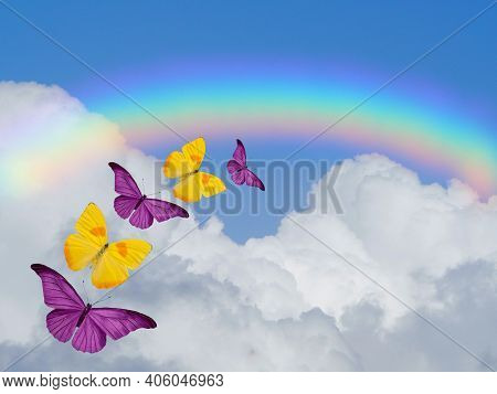 Spiritual Background For Meditation With Butterflies And Rainbow In Sea Reflection