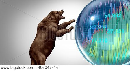 Bear Market Bubble Burst And Economic Crash Or Stock Market Speculation Concept And Overvalued Stock