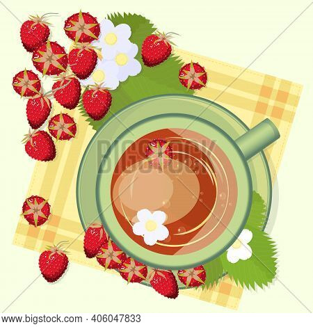 A Cup Of Strawberry Tea With Berries, Leaves And Strawberry Flowers Top View. Berry Drink, Medicinal