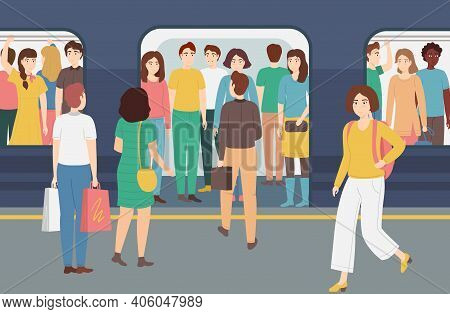 Cartoon Color Characters People And Overcrowded Underground Concept Flat Design Style. Vector Illust