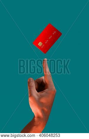 Close Up Male Hand And Levitating Template Mockup Bank Credit Card With Online Service Isolated On G
