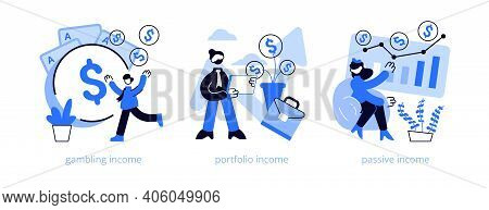 Capital Gain Abstract Concept Vector Illustration Set. Gambling