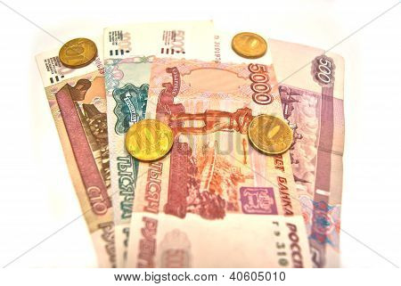 10 Rubles Coins And Different Banknotes