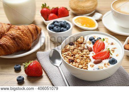 Buffet Service. Tasty Breakfast Served On Wooden Table
