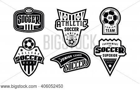 Badges Set Of Soccer Tournament. Graphic Design For T-shirt. Black Print On White Background