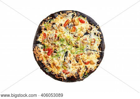 Delicious Pizza On Black Crusty With Cherry Tomatoes, Mushrooms And Green Onion Isolated On White Ba