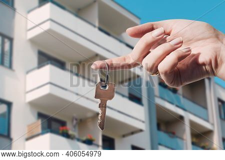 Real Estate Agent Holding Keys To New Flat. Real Estate, Buy A Home Concept