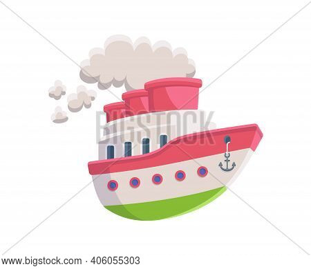 Cartoon Steam Boat Or Steamer Ship Flat Vector Illustration Isolated On White.