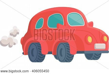 Funny Toy Car Blows Out Puffs Of Smoke Flat Cartoon Vector Illustration Isolated.