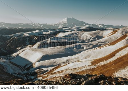 Landscape Of The Snowy Mountains Of The Caucasus. Excursion To The Dzhily-su Waterfall. North Caucas