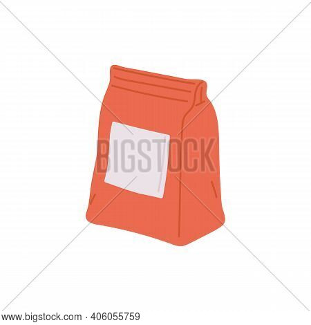 Building Material In Package - Cement, Sand Or Glue A Flat Vector Illustration