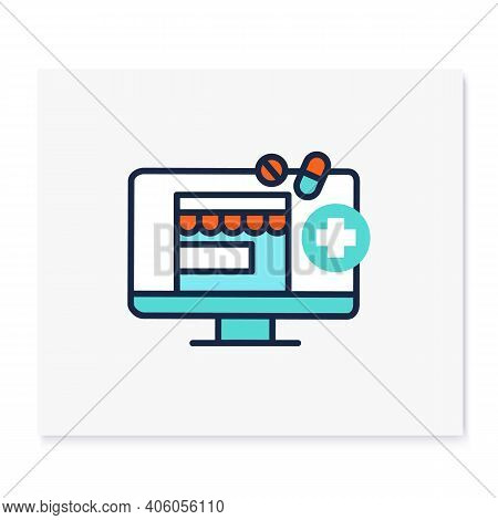 Telepharmacy Color Icon. Online Drugstore, Apothecary Website Or Application. Telehealth Medical Car