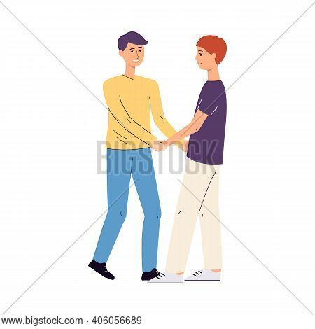 Gay Homosexual Couple Hugging Holding Hands, Flat Vector Illustration Isolated.