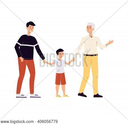 Two Men Homosexual Family Couple Are Raising A Child, Flat Vector Illustration.
