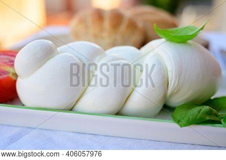 Fresh Soft White Italian Cheese Braid Mozzarella Buffalo Made From Italian Buffalo's Milk By Pasta F