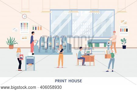 Printing House Interior - Cartoon Banner Of Polygraphy Company Office
