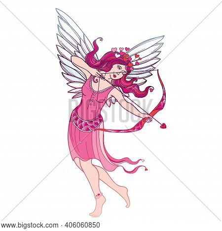Vector Hand-drawn Silhouette Of Outline Pink Cupid Girl With Bow And Arrow Isolated On White Backgro