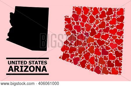 Love Collage And Solid Map Of Arizona State On A Pink Background. Mosaic Map Of Arizona State Design