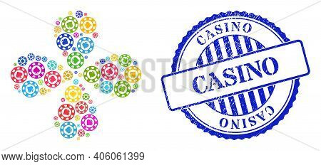 Spades Casino Chip Multi Colored Curl Flower Cluster, And Blue Round Casino Scratched Rubber Print.