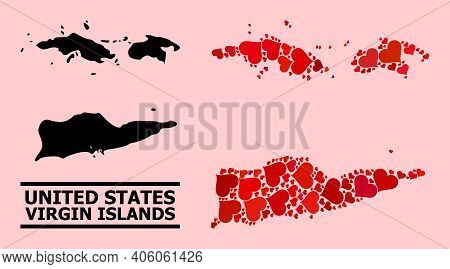 Love Collage And Solid Map Of American Virgin Islands On A Pink Background. Mosaic Map Of American V