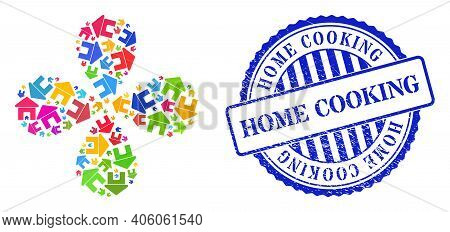 Home Multicolored Swirl Flower Shape, And Blue Round Home Cooking Rough Stamp Seal. Object Flower Wi
