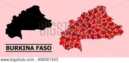 Love Pattern And Solid Map Of Burkina Faso On A Pink Background. Mosaic Map Of Burkina Faso Designed