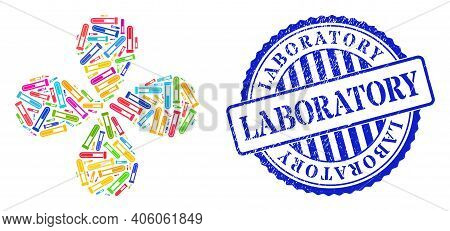Blood Test-tube Multicolored Centrifugal Flower Shape, And Blue Round Laboratory Corroded Stamp Prin