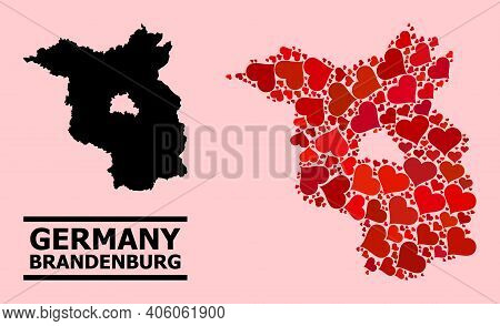 Love Collage And Solid Map Of Brandenburg State On A Pink Background. Collage Map Of Brandenburg Sta