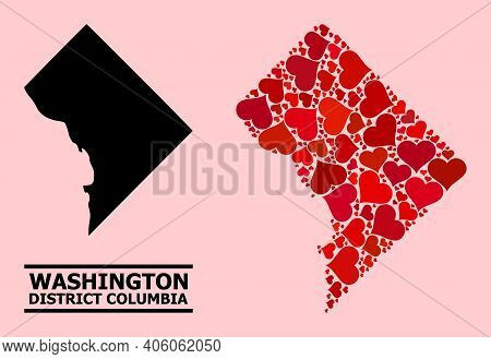 Love Mosaic And Solid Map Of District Columbia On A Pink Background. Mosaic Map Of District Columbia
