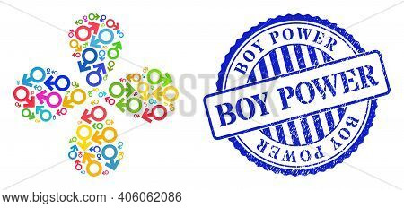 Male Symbol Multicolored Explosion Flower Shape, And Blue Round Boy Power Rubber Watermark. Object C